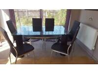 Glass and Faux Leather Dining Table with 6 chairs