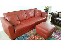 Large 4 seater leather settee