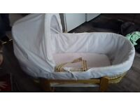 Moses basket, stand, sheets and mattress