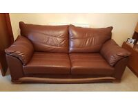 Brown Leather Suite, Sofa, Armchair and Footstool