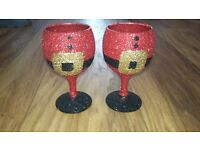 Christmas Wine Glasses x6