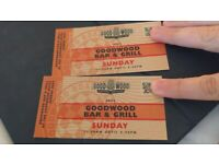 2 x Goodwood Bar & Grill Restaurant Tickets - Sunday 19th September