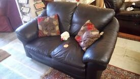 BLACK leather two seater sofa £60 CHEAP DELIVERY Stalybridge SK15 2PT
