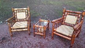 Colonial style banboo chairs and table