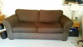 Next 3 seater brown fabric settee sofa