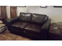 Brown leather 2 seater sofa,good condition
