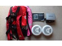 Garmin 400 series navigation system uk/ireland maps.3 adults life jackets.150wpeak marine speakers.