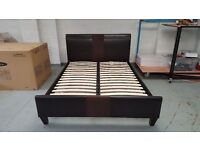 Ex-Display BROWN LEATHER KING SIZE BED in Excellent Condition CAN DELIVER