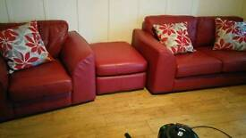 Red quality leather suite