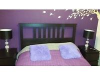 Double bed frame + bedsides /Black-brown IKEA