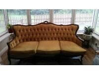 Queen anne style settee and 2 chairs