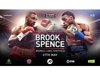 X4 tickets for Kell Brook vs Errol Spence 27th may Brammal lane FACEVALUE