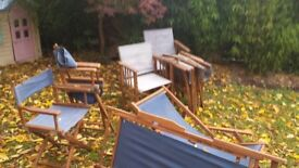 Wooden folding garden furniture set - ready for upcycling!
