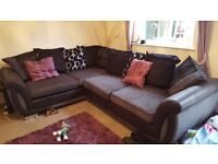 Dfs gray and black corner sofa with scatter back cushions