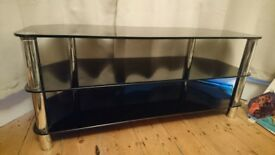 Black Glass Chrome TV Unit Cabinet Stand