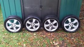 "17"" Mazda 3 alloy wheels and tyres."