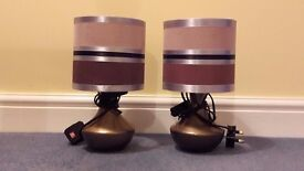 Pair of table lamps with bronze coloured bases