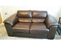 Brown Leather Sofa (from Furniture Village) For Sale