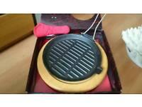 Cast iron fajita griddle pan