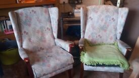 Pair of winged comfy armchairs [just like latest Ikea!