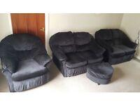 2 x 2 seater sofa, 1 x armchair & footstool - dark grey fabric