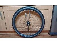 Black 700c Front wheel with tyre for sale