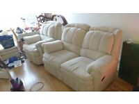 Courts Brand 2 Seater 1 Seater Recliners & Matching Pouffe