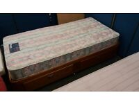 Pine single bed frame with storage plus mattress