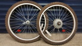 """2 x 24"""" cycle wheels with tubes and tyres"""