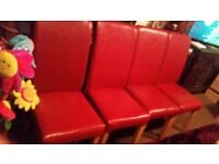 4 RED CHAIRS . + TABLE. VERY CHEAP