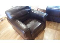 Beautiful, quality brown leather armchair & 2 seater couch/suite. 3 seater is torn hence cheap price