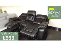 Designer Black leather 3 seater + 2 seater sofa (103) £999