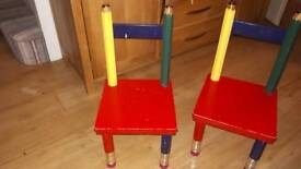Two children's pencil chairs