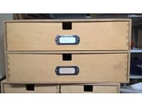 WOODEN BOX WITH 2 DRAWERS FILING CABINET CRAFT STORAGE TAKES A4 PAPER