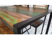 Metal Industrial Dining Table, Bench and Chairs Rustic Boat Wood Reclaimed