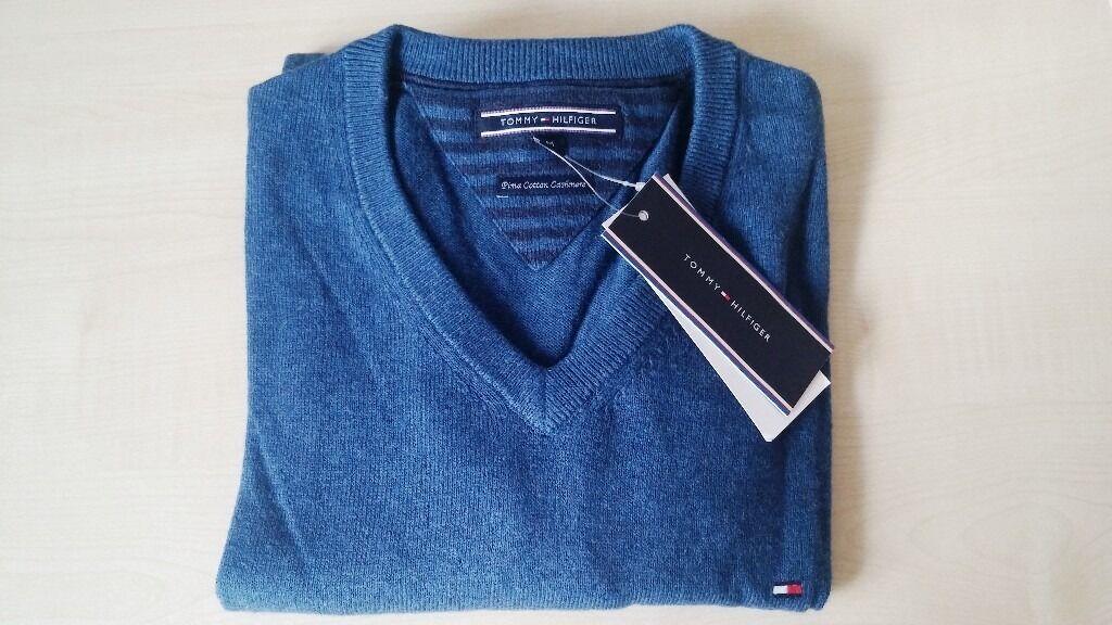 Tommy Hilfiger Men's Pima Cotton Cashmere V-Neck Jumper Sapphire Blue Medium