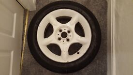 "BMW MINI COOPER 16"" INCH 4 STUD 5 SPOKE WHITE ALLOY WHEEL WITH FREE PART WORN TYRE"