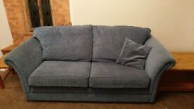 Blue Three Piece Suite. 2 x Sofa. 1 x Armchair.