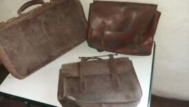 Real leather satchel, schoolbag and case
