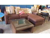 Modern brown L-shaped sofa suite