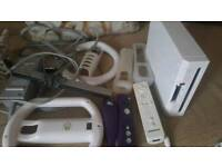 Nintendo Wii all leads sensor bar and two unofficial controllers 1 nunchuck
