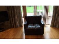 Brown leather 3 seater, 2 seater sofa and chair