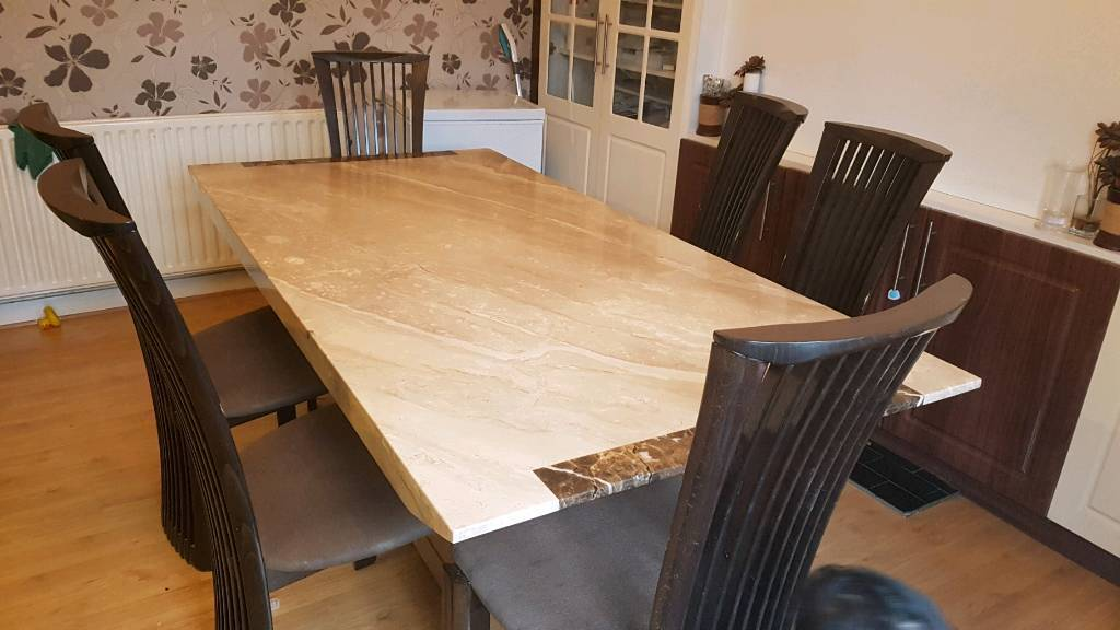 Modern Marble Dining Table And 6 Chairs