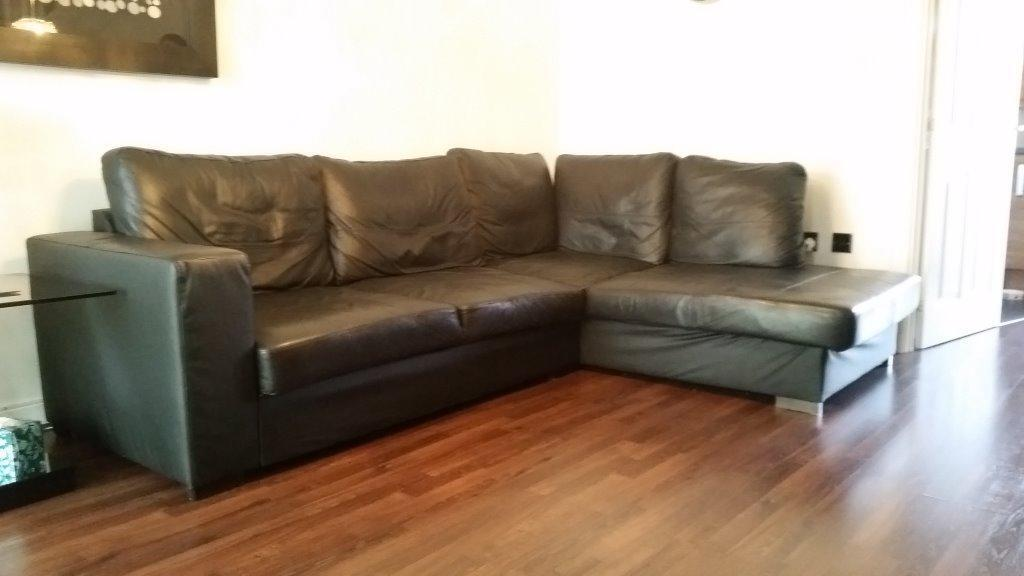Large Black Leather Corner Sofa In Castle Bromwich West Midlands Gumtree