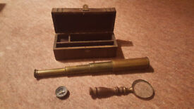 Vintage, Antique Brass Compass / Magnifying Glass / Telescope Set in Wooden Box