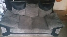 3 & 2 seater sofa black and grey
