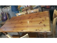 """Varnished pine dining table 55"""" x 33"""""""
