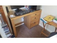 Wood computer table with draws and glass removable top