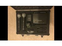 UHF Twin Handheld and Body Pack Wireless Dual Channel Microphone Kit in Flight Case