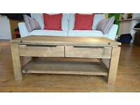 Rustic timber two drawer coffee table